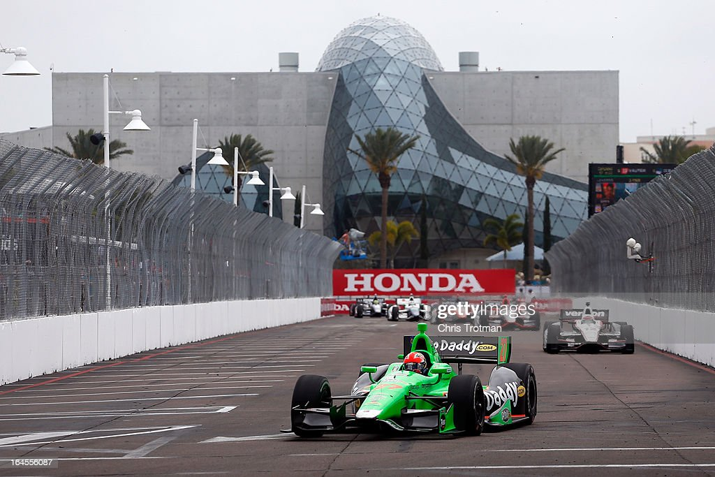 James Hinchcliffe of Canada, drives the #27 GoDaddy.com Andretti Autosport Dallara Chevrolet in the IZOD IndyCar Series Honda Grand Prix of St Petersburg on March 24, 2013 in St Petersburg, Florida.