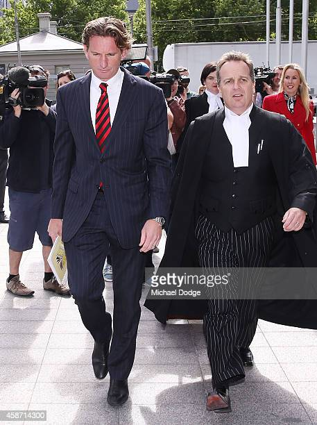 James Hird arrives at Melbourne Federal Court on November 10 2014 in Melbourne Australia Essendon challenged the joint AFLASADA investigation into...