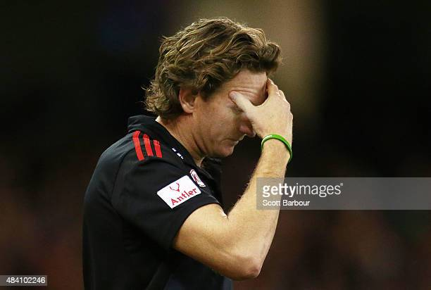 James Hird coach of the Essendon Bombers looks on during the round 20 AFL match between the Essendon Bombers and the Adelaide Crows at Etihad Stadium...