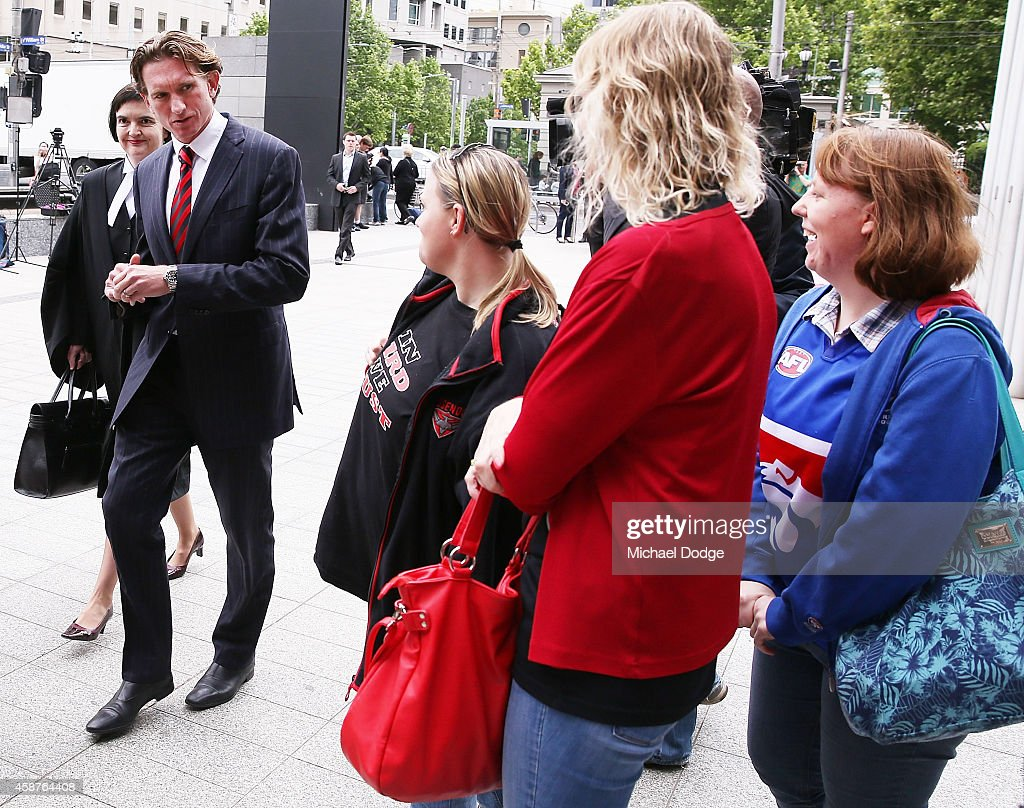 James Hird is greeted by supporters when arriving at Melbourne Federal Court on November 11 2014 in Melbourne Australia Essendon challenged the joint...