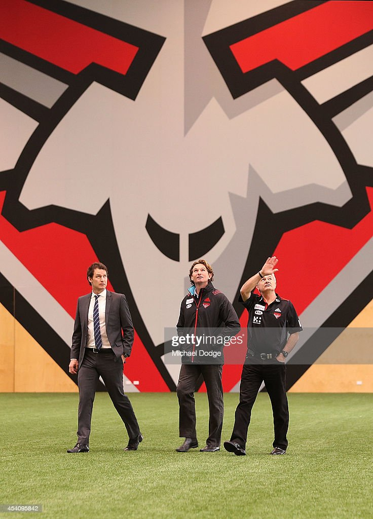 James Hird shown the facilities by CEO Xavier Campbell and Football Manager Neil Craig returns to work at True Value Solar Centre on August 25 2014...