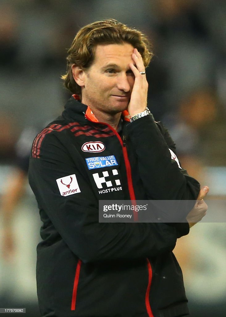 James Hird the coach of the Bombers looks on during the round 22 AFL match between the Carlton Blues and the Essendon Bombers at Melbourne Cricket...