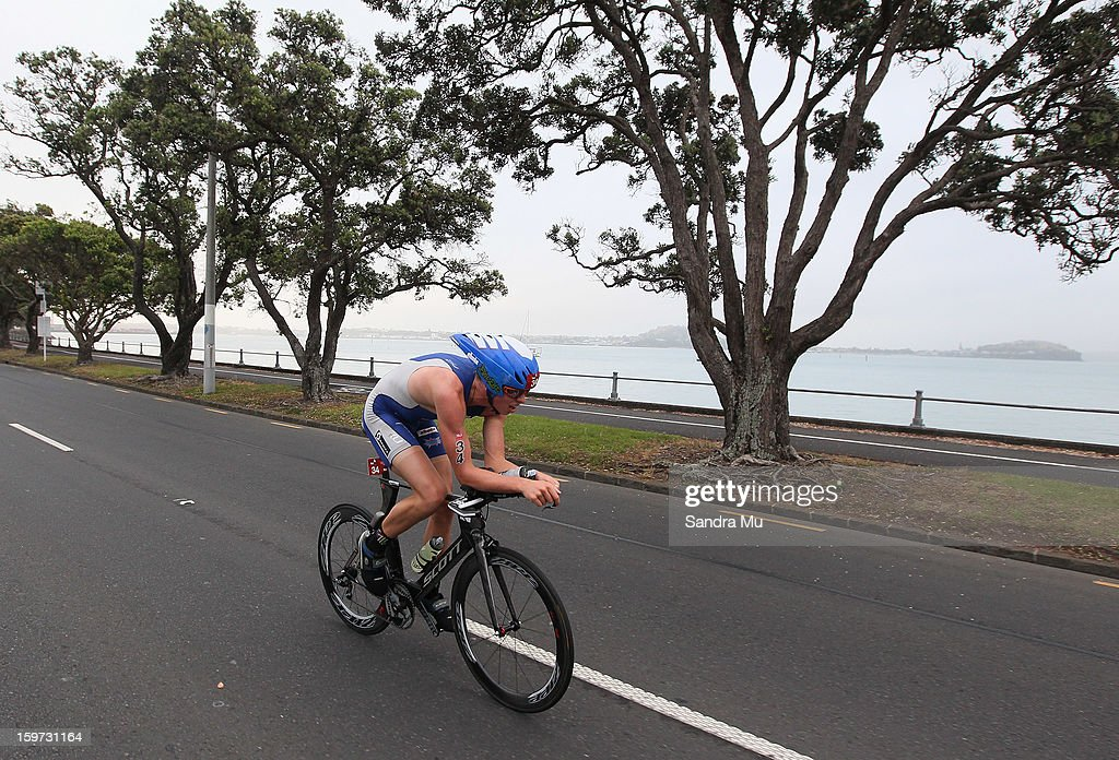 James Hodge of Australia in action on the cycle leg during the Ironman 70.3 Auckland triathlon on January 20, 2013 in Auckland, New Zealand.