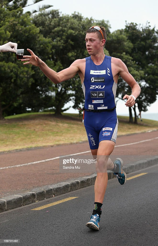James Hodge of Australia in action on the run leg during the Ironman 70.3 Auckland triathlon on January 20, 2013 in Auckland, New Zealand.