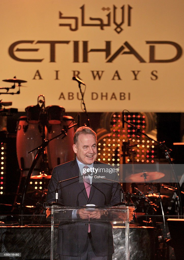 <a gi-track='captionPersonalityLinkClicked' href=/galleries/search?phrase=James+Hogan&family=editorial&specificpeople=690843 ng-click='$event.stopPropagation()'>James Hogan</a>, President and Chief Executive of Etihad Airways speaks onstage during a gala to celebrate Etihad Airways' world-class, non-stop service between Los Angeles and Abu Dhabi at the iconic Beverly House on June 10, 2014 in Beverly Hills, California.