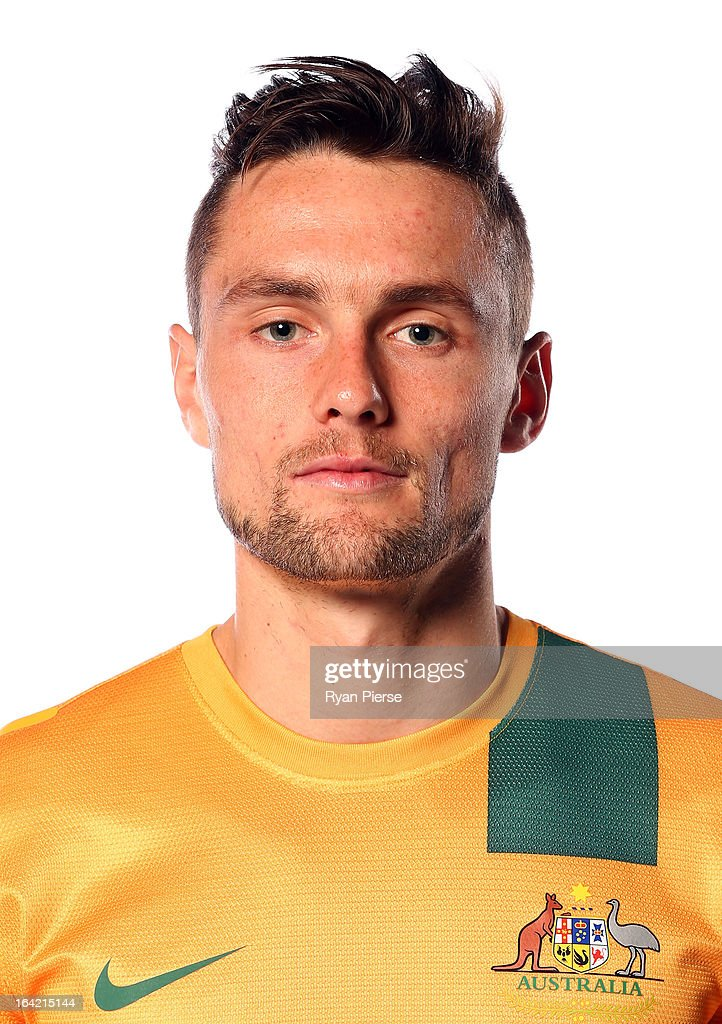 <a gi-track='captionPersonalityLinkClicked' href=/galleries/search?phrase=James+Holland&family=editorial&specificpeople=1647686 ng-click='$event.stopPropagation()'>James Holland</a> of Australia poses during a Socceroos Portrait Session on March 21, 2013 in Sydney, Australia.