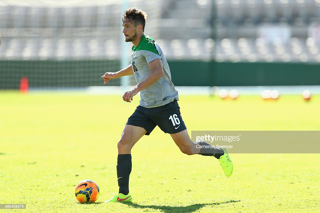 <a gi-track='captionPersonalityLinkClicked' href=/galleries/search?phrase=James+Holland&family=editorial&specificpeople=1647686 ng-click='$event.stopPropagation()'>James Holland</a> of the Socceroos controls the ball during an Australian Socceroos Fan Day & Training Session at WIN Jubilee Stadium on May 24, 2014 in Sydney, Australia.