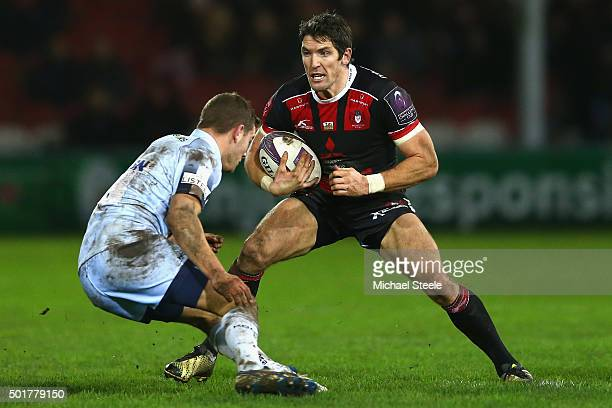 James Hook of Gloucester faces upto Charlie Mulchrone of Worcester during the European Rugby Challenge Cup Round Four match between Gloucester Rugby...