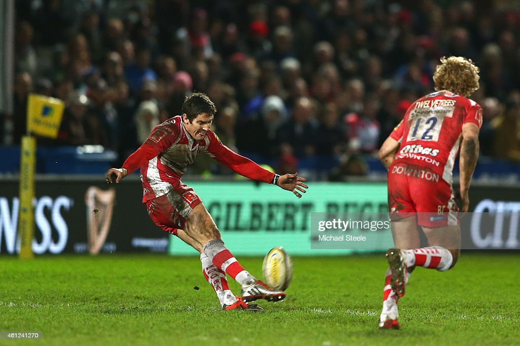 James Hook of Gloucester kicks a last minute penalty from the halfway line to provide a 24-23 victory during the Aviva Premiership match between Gloucester Rugby and Saracens at Kingsholm Stadium on January 9, 2015 in Gloucester, England.