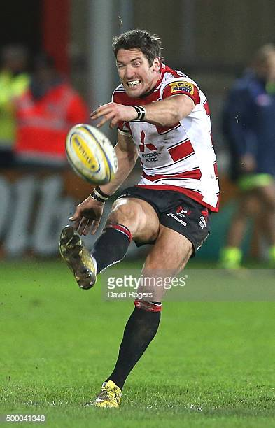James Hook of Gloucester kicks the ball upfield during the Aviva Premiership match between Gloucester and Sale Sharks at Kingsholm on December 4 2015...
