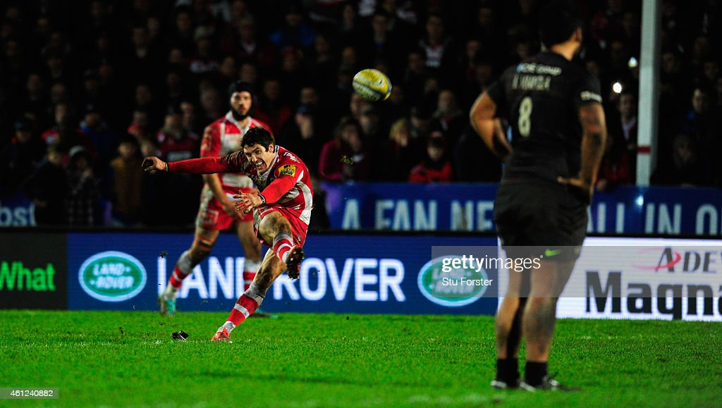 <a gi-track='captionPersonalityLinkClicked' href=/galleries/search?phrase=James+Hook&family=editorial&specificpeople=710391 ng-click='$event.stopPropagation()'>James Hook</a> of Gloucester kicks the winning penalty with the last kick of the game during the Aviva Premiership match between Gloucester Rugby and Saracens at Kingsholm Stadium on January 9, 2015 in Gloucester, England.