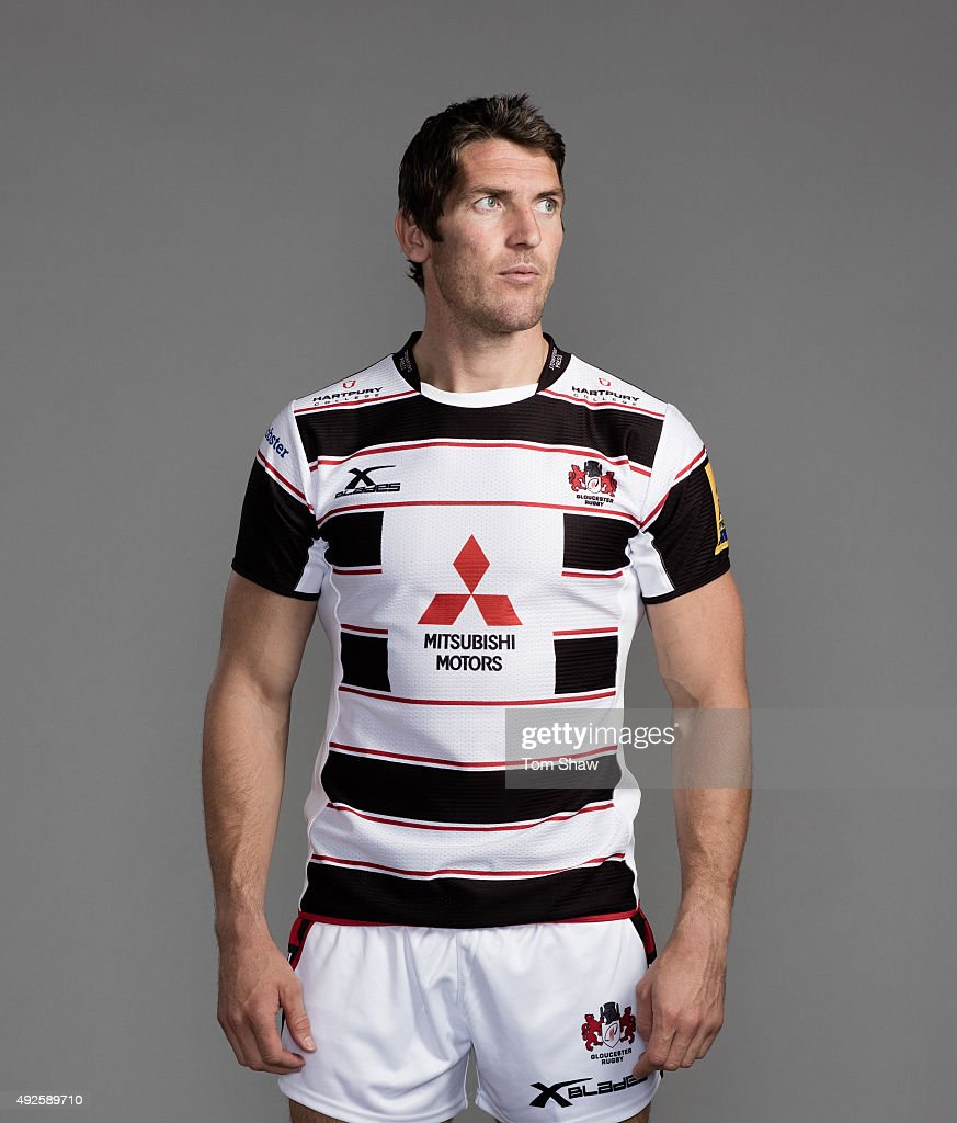 James Hook of Gloucester poses for a picture during the Gloucester Rugby Photocall at Hartpury College on September 18 2015 in Hartpury England