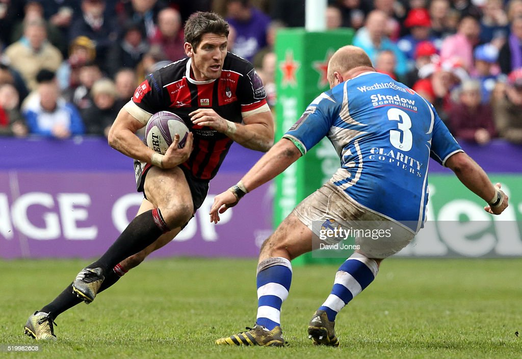 James Hook of Gloucester Rugby attacks Brok Harris of Newport Gwent Dragons during the European Rugby Challenge Cup match between Gloucester Rugby...