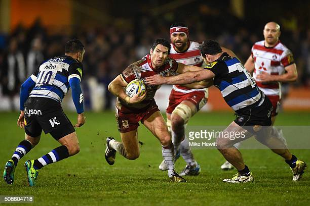 James Hook of Gloucester Rugby attempts to break through during the Aviva Premiership match between Bath Rugby and Gloucester Rugby at the Recreation...