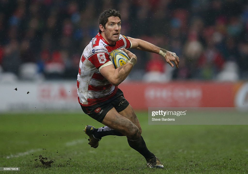 <a gi-track='captionPersonalityLinkClicked' href=/galleries/search?phrase=James+Hook&family=editorial&specificpeople=710391 ng-click='$event.stopPropagation()'>James Hook</a> of Gloucester Rugby in action during the Aviva Premiership match between Gloucester Rugby and Harlequins at Kingsholm Stadium on February 13, in Gloucester, England.