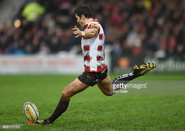 James Hook of Gloucester Rugby kicks a penalty during the Aviva Premiership match between Gloucester Rugby and London Irish at Kingsholm Stadium on...