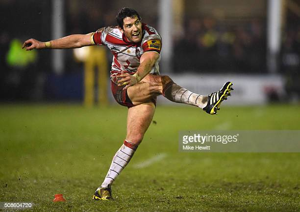 James Hook of Gloucester Rugby kicks a penalty during the Aviva Premiership match between Bath Rugby and Gloucester Rugby at the Recreation Ground on...