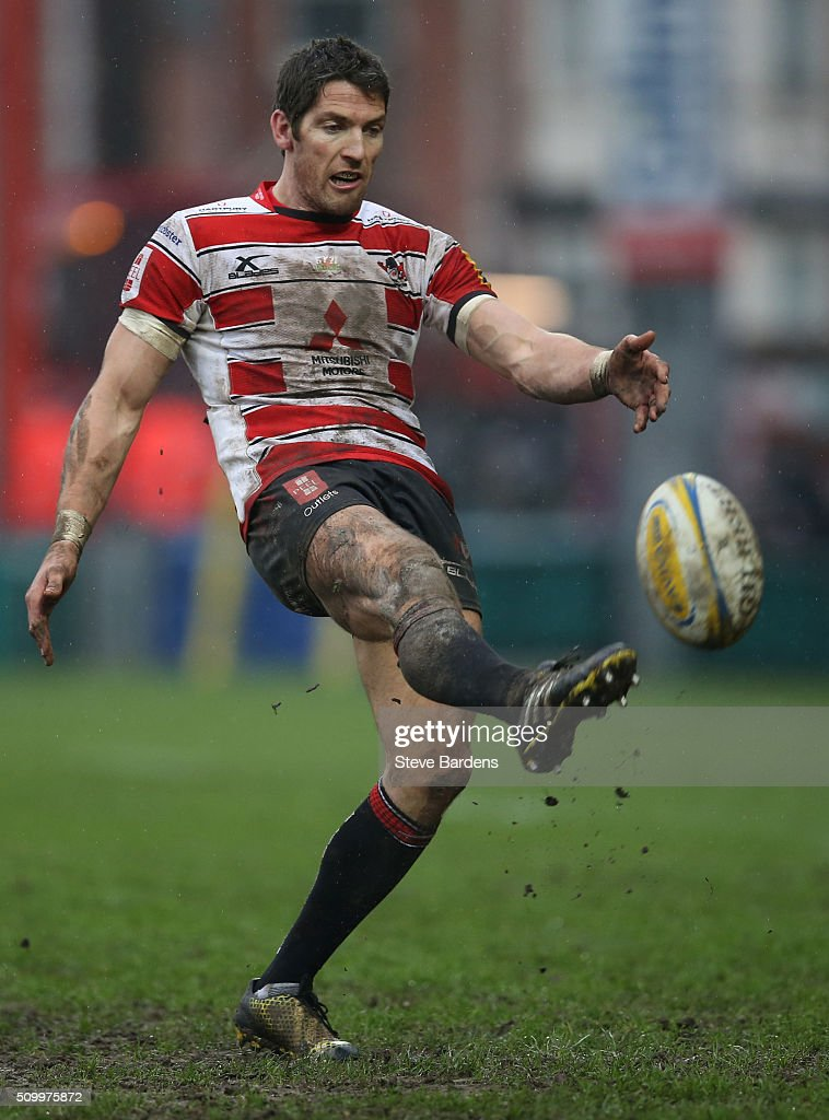 <a gi-track='captionPersonalityLinkClicked' href=/galleries/search?phrase=James+Hook&family=editorial&specificpeople=710391 ng-click='$event.stopPropagation()'>James Hook</a> of Gloucester Rugby kicks for touch during the Aviva Premiership match between Gloucester Rugby and Harlequins at Kingsholm Stadium on February 13, in Gloucester, England.