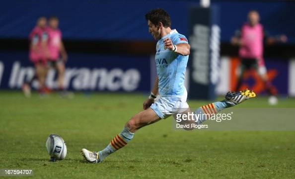 James Hook of Perpignan kicks a penalty during the Amlin Challenge Cup Semi Final between Perpignan and Stade Francais at Stade Aime Giral on April...