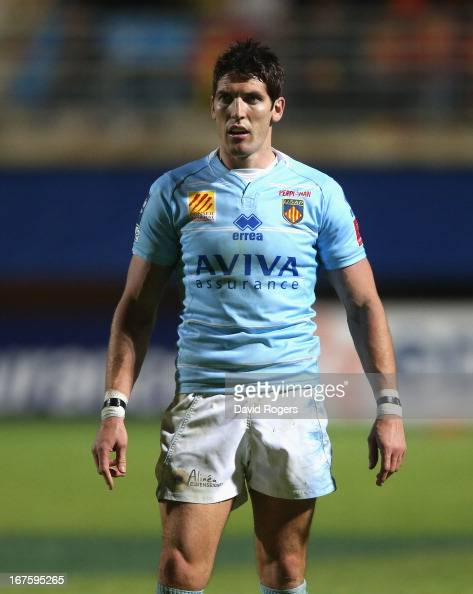 James Hook of Perpignan looks on during the Amlin Challenge Cup Semi Final between Perpignan and Stade Francais at Stade Aime Giral on April 26 2013...