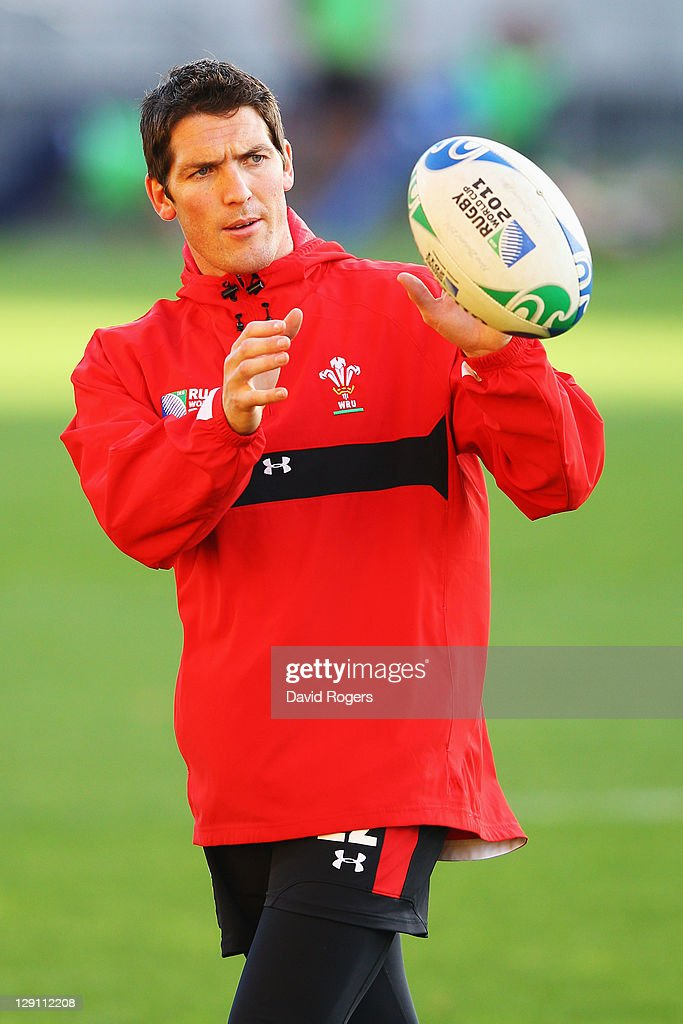 <a gi-track='captionPersonalityLinkClicked' href=/galleries/search?phrase=James+Hook&family=editorial&specificpeople=710391 ng-click='$event.stopPropagation()'>James Hook</a> of Wales eyes the ball during a Wales IRB Rugby World Cup 2011 training session at Mt Smart Stadium on October 13, 2011 in Auckland, New Zealand.