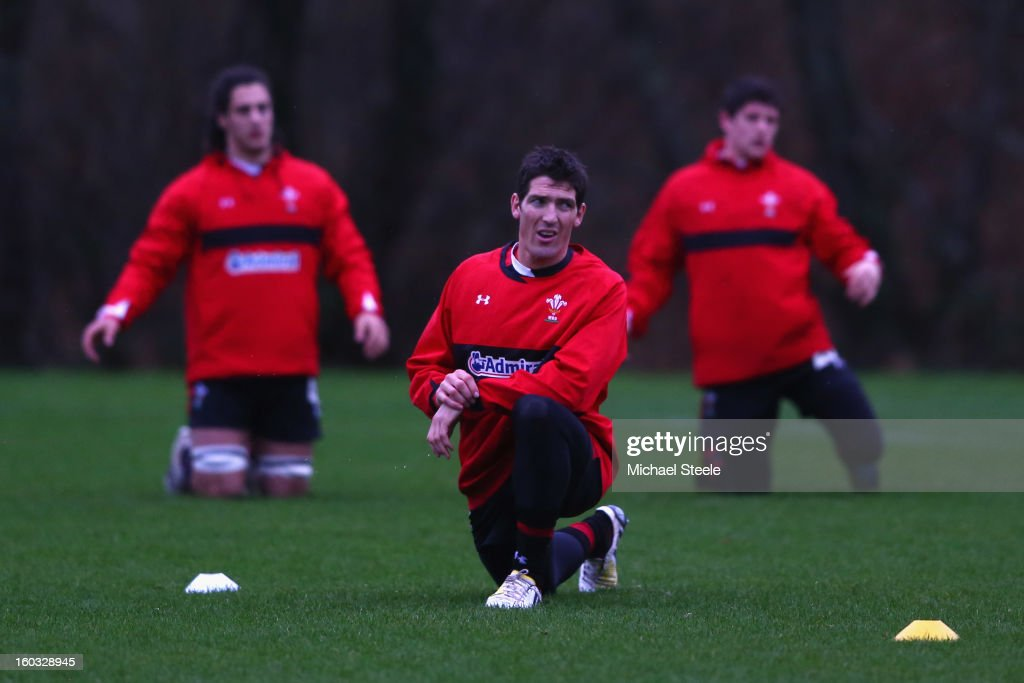 James Hook of Wales stretches during the Wales training session at Vale Resort on January 29, 2013 in Cardiff, Wales.