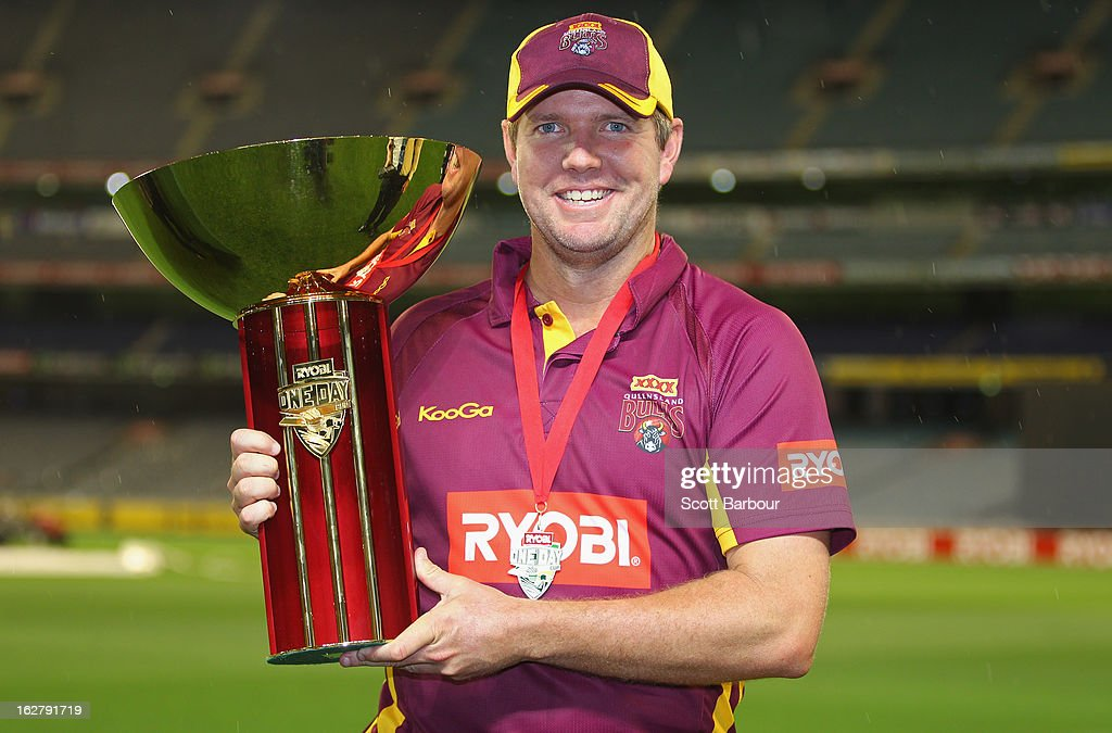 James Hopes, captain of the Bulls poses with the Ryobi One Day Cup after winning the Ryobi One Day Cup final match between the Victorian Bushrangers and the Queensland Bulls at Melbourne Cricket Ground on February 27, 2013 in Melbourne, Australia.