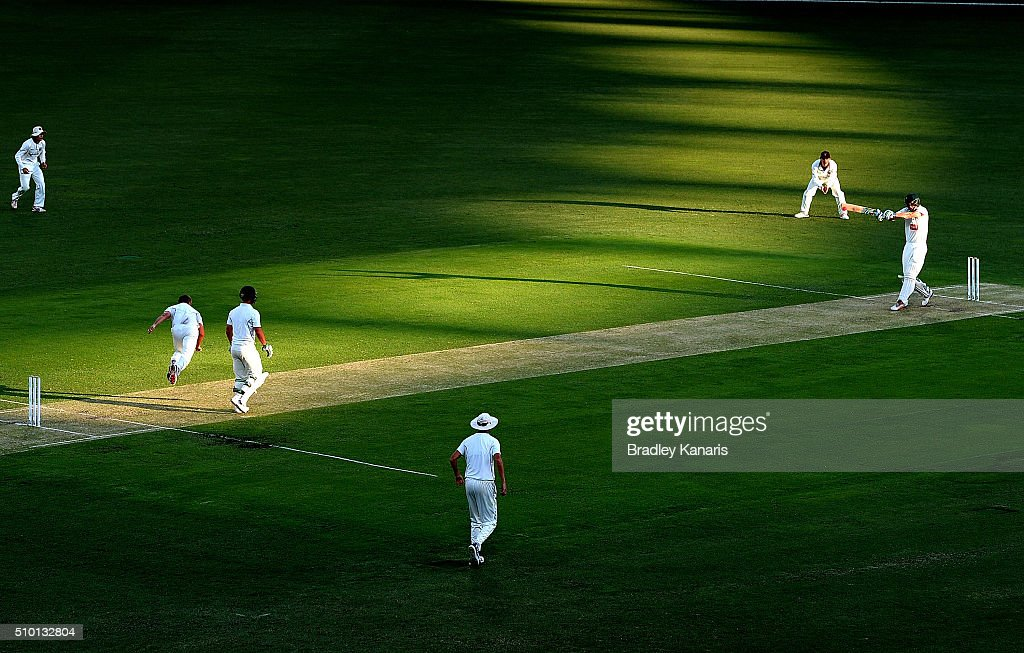 James Hopes of Queensland bowls to Beau Webster of Tasmania during day one of the Sheffield Shield match between Queensland and Tasmania at The Gabba on February 14, 2016 in Brisbane, Australia.