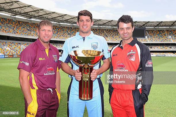 James Hopes of Queensland Moises Henriques of New South Wales Callum Ferguson of South Australia pose during the Matador BBQs Cup series launch at...