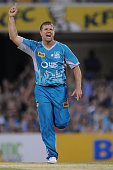 James Hopes of the Heat celebrates the wicket of Brad Hodge of the Stars during the Big Bash League match between Brisbane Heat and the Melbourne...