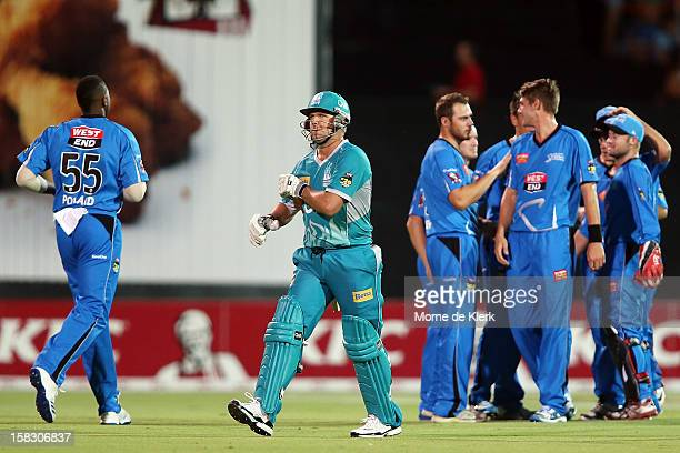 James Hopes of the Heat leaves the field after getting out during the Big Bash League match between the Adelaide Strikers and the Brisbane Heat at...