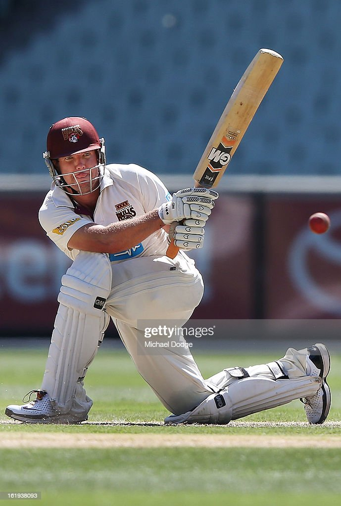 James Hopes of the Queensland Bulls hits the ball during day one of the Sheffield Shield match between the Victorian Bushrangers and the Queensland Bulls at Melbourne Cricket Ground on February 18, 2013 in Melbourne, Australia.
