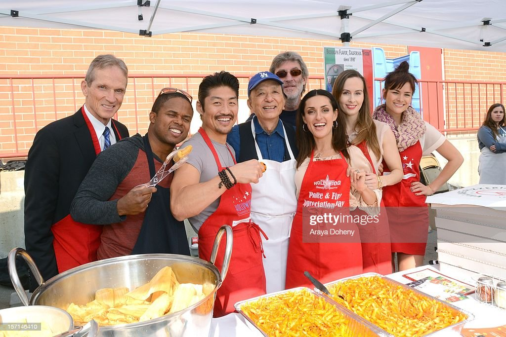 James Horan Walter Jones Brian Tee James Hong Mirelly Taylor Erin Carufel and Stephanie Danielson volunteer at the the Hollywood Chamber of Commerce...