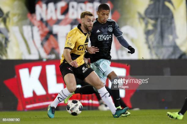 James Horsfield of NAC Breda David Neres of Jong Ajaxduring the Jupiler League match between NAC Breda and Jong Ajax Amsterdam at the Rat Verlegh...