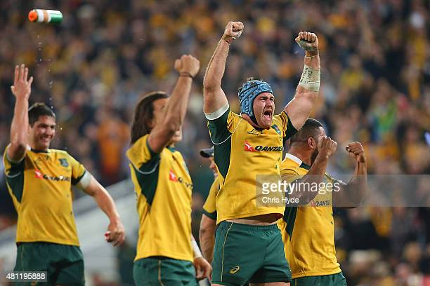 James Horwil and the Wallabies celebrate winning The Rugby Championship match between the Australian Wallabies and the South Africa Springboks at...