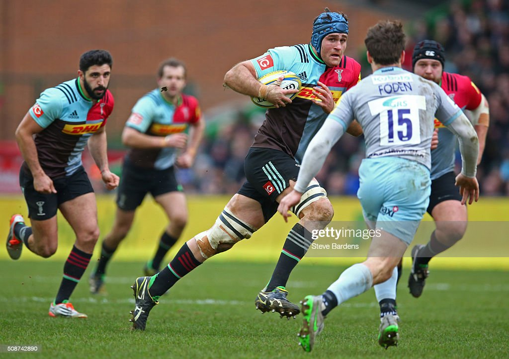 <a gi-track='captionPersonalityLinkClicked' href=/galleries/search?phrase=James+Horwill&family=editorial&specificpeople=637477 ng-click='$event.stopPropagation()'>James Horwill</a> of Harlequins takes on the Northampton Saints defence during the Aviva Premiership match between Harlequins and Northampton Saints at Twickenham Stoop on February 6, 2016 in London, England.