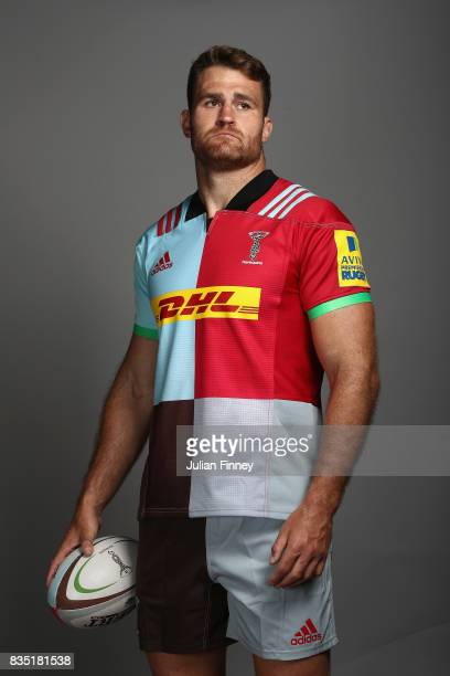 James Horwill of Quins poses for a portrait during the Harlequins photocall for the 20172018 Aviva Premiership Rugby season at The Stoop on August 18...