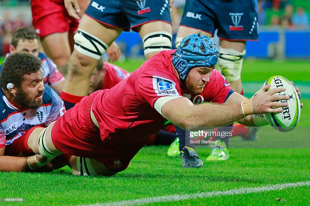 <a gi-track='captionPersonalityLinkClicked' href=/galleries/search?phrase=James+Horwill&family=editorial&specificpeople=637477 ng-click='$event.stopPropagation()'>James Horwill</a> of the Reds dives to score a try during the round eight Super Rugby match between the Rebels and the Reds at AAMI Park on April 3, 2015 in Melbourne, Australia.