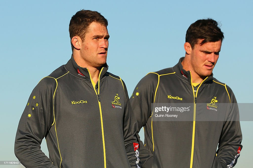 <a gi-track='captionPersonalityLinkClicked' href=/galleries/search?phrase=James+Horwill&family=editorial&specificpeople=637477 ng-click='$event.stopPropagation()'>James Horwill</a> of the Wallabies arrives at an Australian Wallabies fan day on June 23, 2013 in Melbourne, Australia.