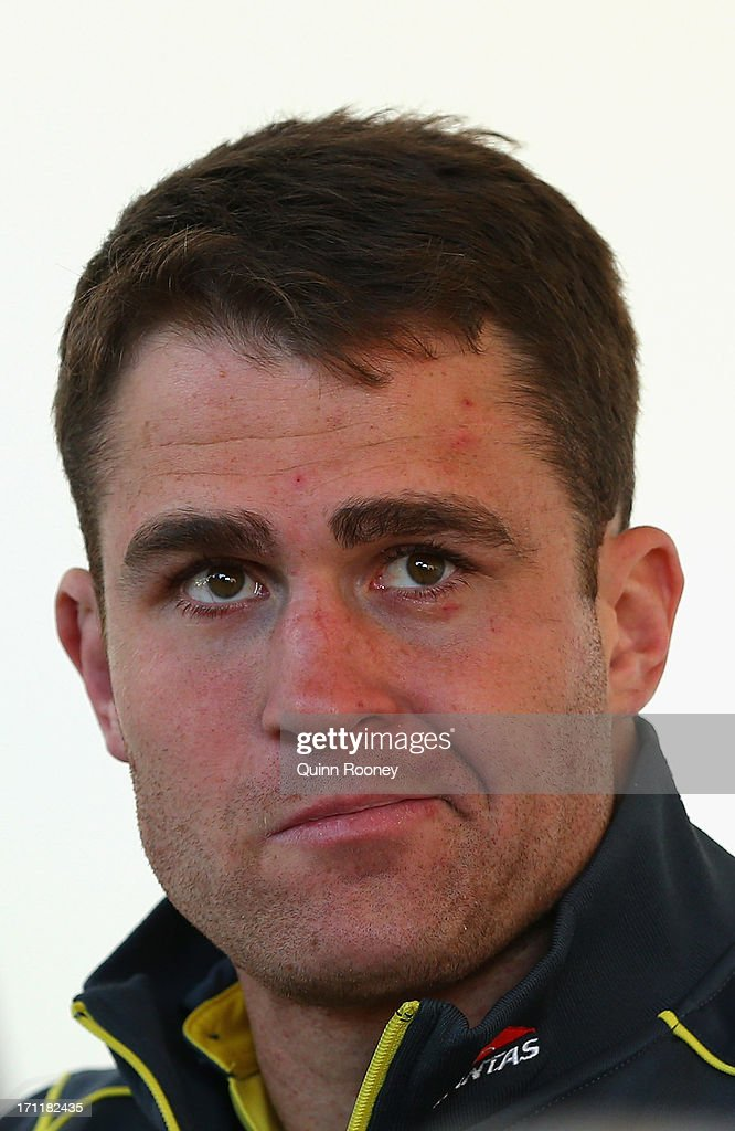 <a gi-track='captionPersonalityLinkClicked' href=/galleries/search?phrase=James+Horwill&family=editorial&specificpeople=637477 ng-click='$event.stopPropagation()'>James Horwill</a> of the Wallabies looks on during an Australian Wallabies fan day on June 23, 2013 in Melbourne, Australia.