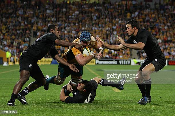 James Horwill of the Wallabies scores a try during the 2008 Tri Nations series Bledisloe Cup match between the Australian Wallabies and the New...