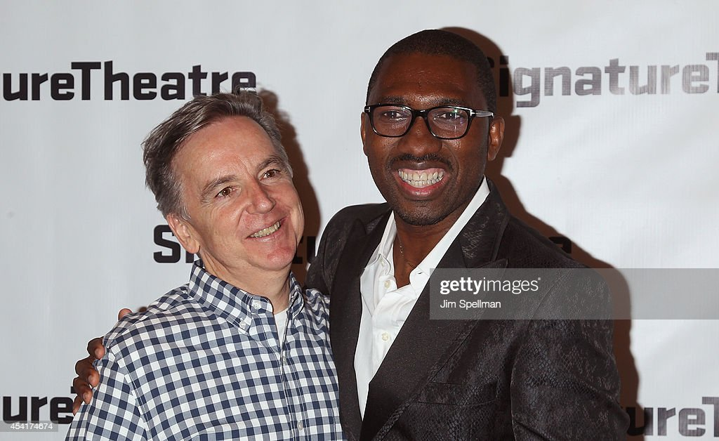 James Houghton and actor <a gi-track='captionPersonalityLinkClicked' href=/galleries/search?phrase=Kwame+Kwei-Armah&family=editorial&specificpeople=2194059 ng-click='$event.stopPropagation()'>Kwame Kwei-Armah</a> attend the 'And I And Silence' Opening Night at Signature Theatre Companys Pershing Square Signature Center on August 25, 2014 in New York City.