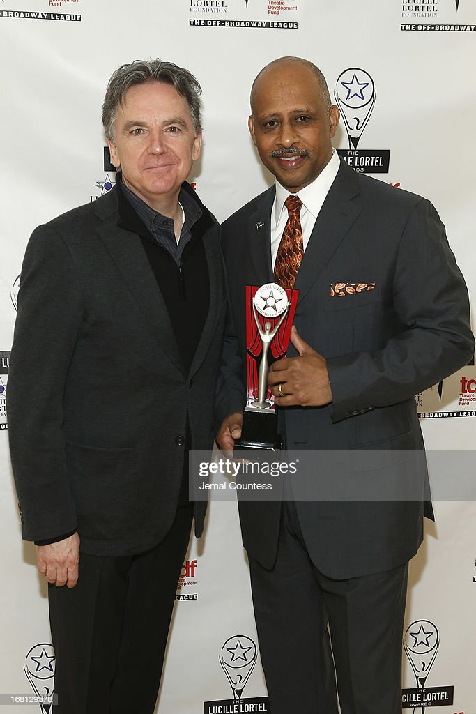 James Houghton and <a gi-track='captionPersonalityLinkClicked' href=/galleries/search?phrase=Ruben+Santiago-Hudson&family=editorial&specificpeople=223882 ng-click='$event.stopPropagation()'>Ruben Santiago-Hudson</a> pose backstage at the 28th Annual Lucille Lortel Awards on May 5, 2013 in New York City.