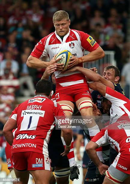 James Hudson of Gloucester Rugby takes lineout ball during the Aviva Premiership match between Gloucester Rugby and Sales Sharks at Kingsholm on...