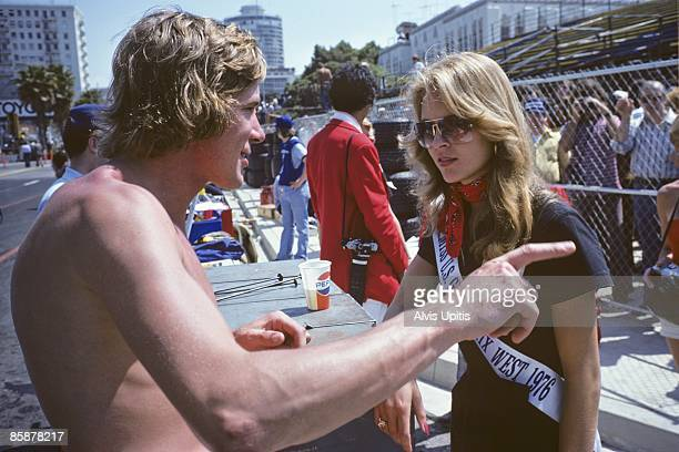 James Hunt and Race Queen at the first United States Grand Prix West held on March 28 1976 in Long Beach California