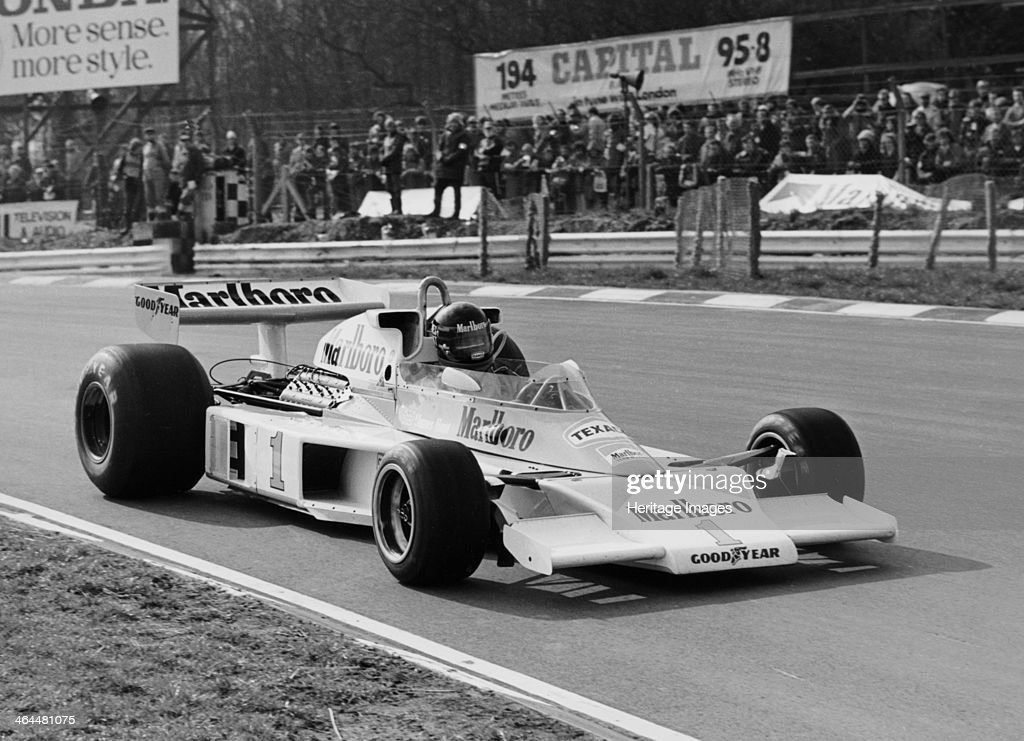 James Hunt in McLarenFord M23 Brands Hatch Kent 1977 Formula 1 World Champion James Hunt in action during the Race of Champions in 1977 Hunt won the...