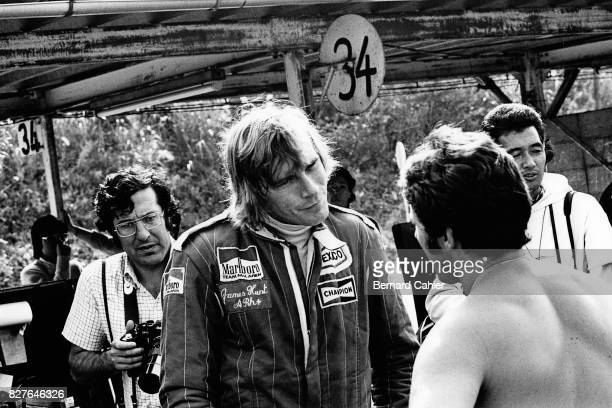 James Hunt Mario Andretti Grand Prix of Japan Fuji Speedway 24 October 1976 James Hunt discussing with Mario Andretti before the Japanese Grand Prix