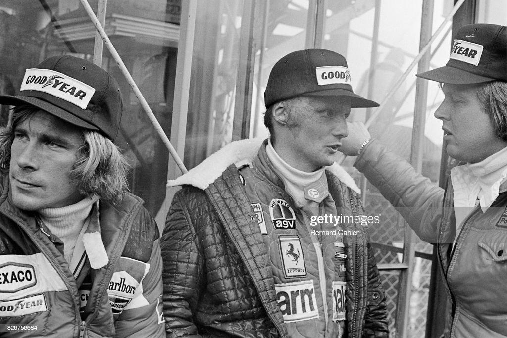 James Hunt, Niki Lauda, Ronnie Peterson, Grand Prix of Japan, Fuji Speedway, 24 October 1976.