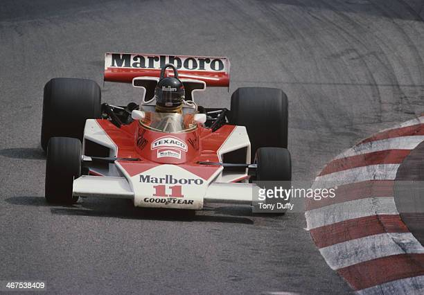 James Hunt of Great Britain drives the Marlboro Team McLaren McLaren M23 Ford Cosworth V8 duringthe Grand Prix of Monaco on 30th May 1976 on the...