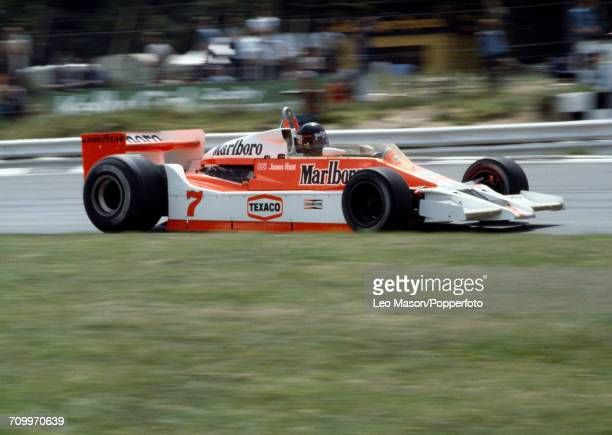 James Hunt of Great Britain drives the Marlboro Team McLaren McLaren M26 Ford Cosworth DFV V8 in action during the Formula One British Grand Prix at...